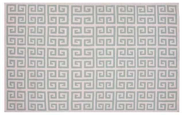 5'x8' Avaron Flat-Weave Rug, Dusty Aqua