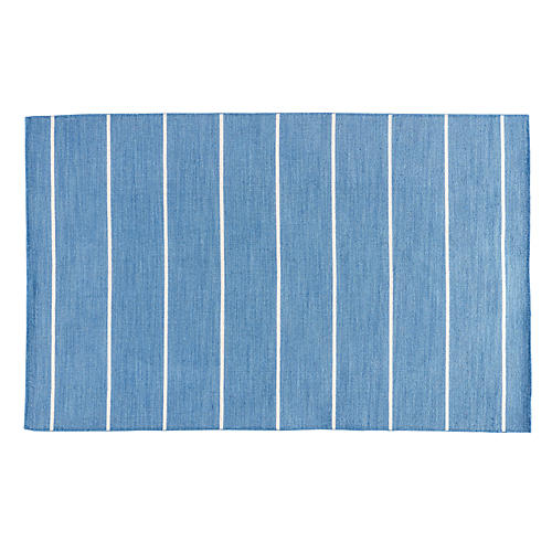 Stripe Flat-Weave Rug, Denim/White