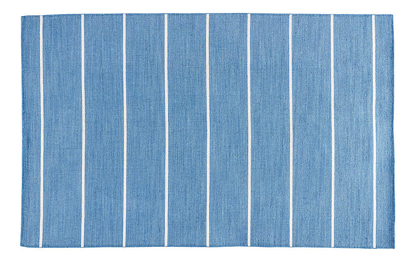 Stripe Flat-Weave Rug, Denim/White