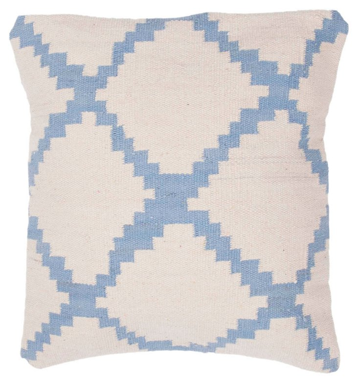 Mirrored 18x18 Pillow, Ivory/Sky Blue