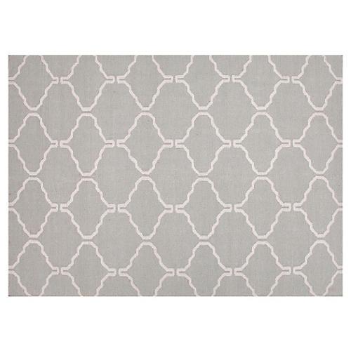 Serra Flat-Weave Rug, Gray/Ivory