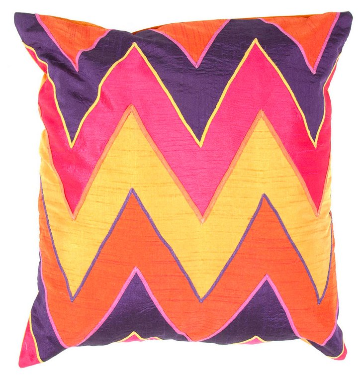 Zigzag 18x18 Pillow, Pink