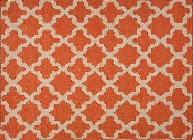 """2'6""""x8' Hunter Flat-Weave Runner, Orange"""