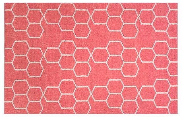 Dane Flat-Weave Rug, Red/Ivory