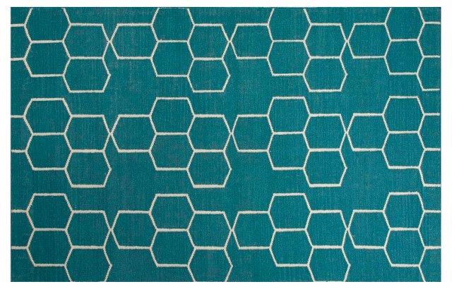 Dane Flat-Weave Rug, Blue/Ivory