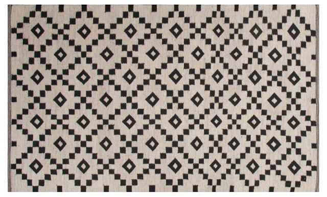 Blakely Flat-Weave Rug, Ivory/Black