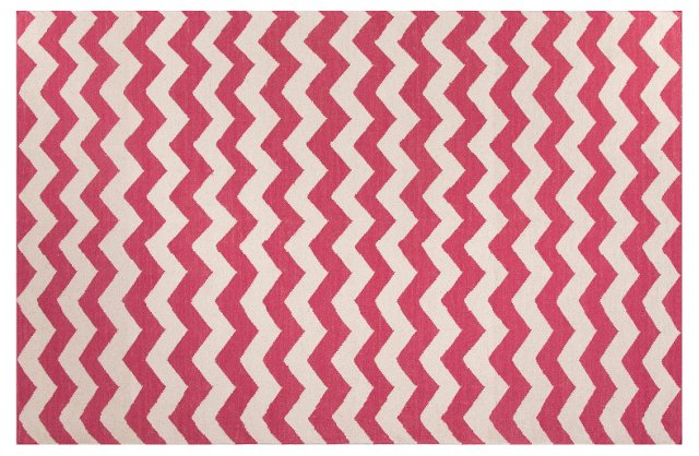 Fin Flat-Weave Rug, Pink/Ivory