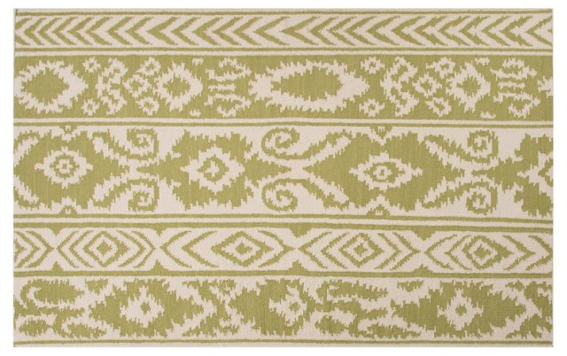 Lucy Flat-Weave Rug, Green/Ivory