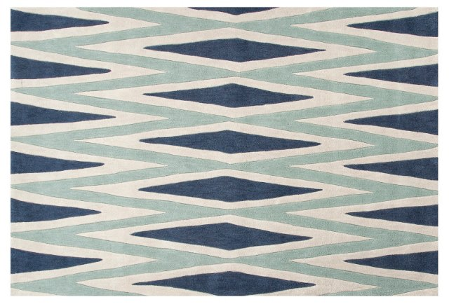 Sprag Rug, Blue/Ivory