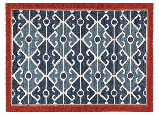 8'x10' Gin Flat-Weave Rug, Blue/Red