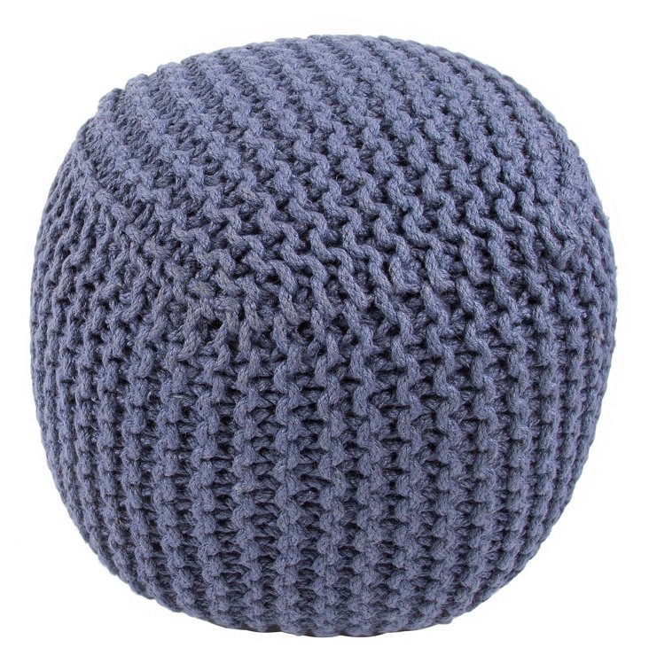Ella Knit Pouf, Blue