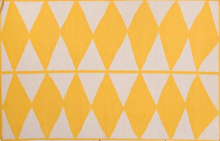 Moloh Flat-Weave Rug, Yellow/Ivory