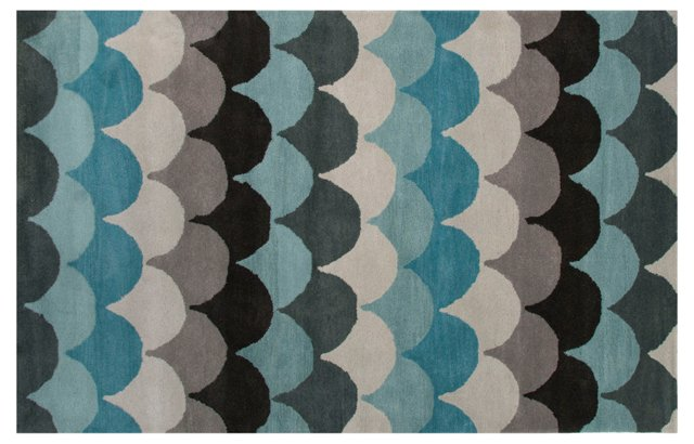 Manar Rug, Blue/Black