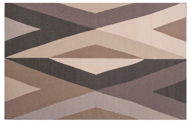 Festive Flat-Weave Rug, Gray/Taupe