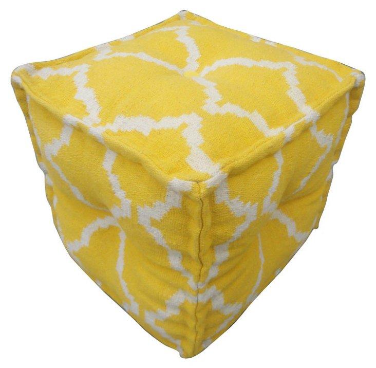 Kinsey Pouf, Yellow/White
