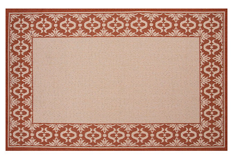 Leopold Outdoor Rug, Ivory/Red