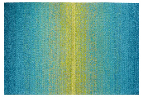 Ina Outdoor Rug, Blue/Green