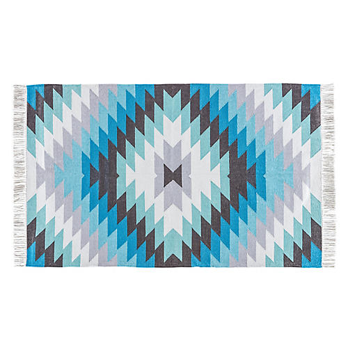 Dixie Outdoor Rug, Blue/Brown