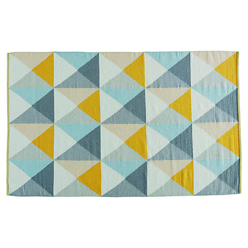 Willard Rug, Yellow/Blue
