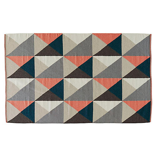 Caius Flat-Weave Rug, Gray/Pink