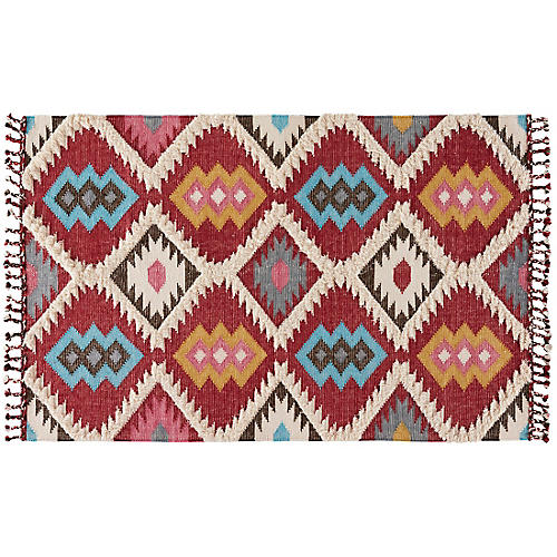Cecilia Flat-Weave Rug, Red/Blue