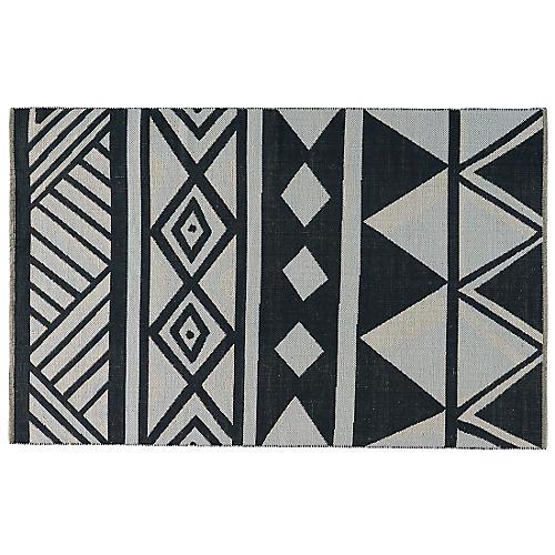 Bisbee Flat-Weave Rug, Black/White