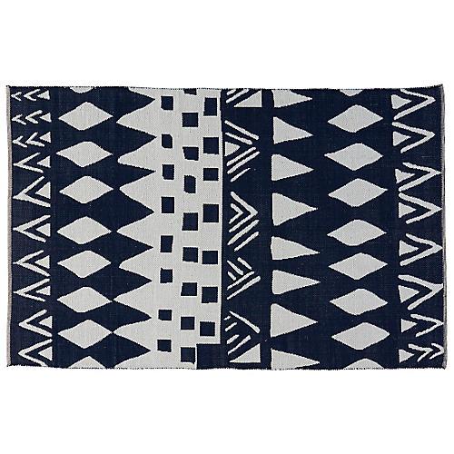 Byck Flat-Weave Rug, Navy/White