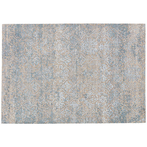 Ashford Hand-Knotted Rug, Beige/Blue