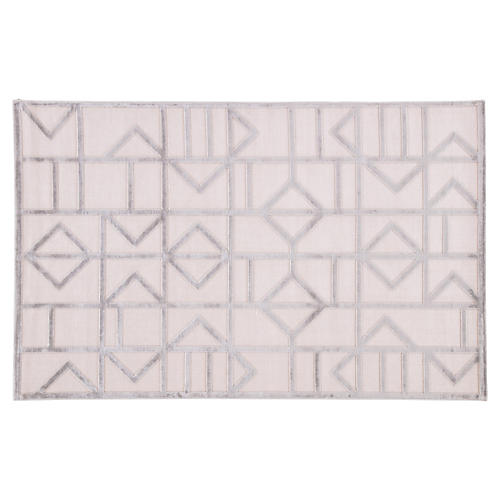 Sater Rug, White/Silver