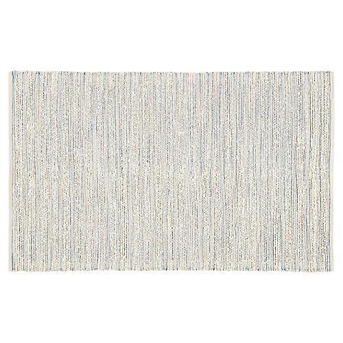 Yarid Flat-Weave Rug, Cream/Blue
