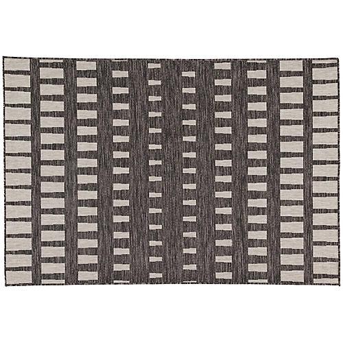 Crawford Outdoor Rug, Dark Gray/Silver