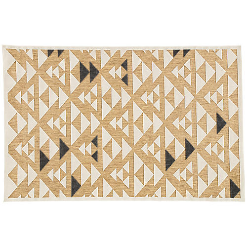 Momsen Outdoor Rug, Beige/White