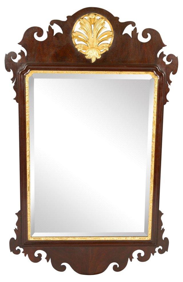 Gilded Mahogany Leaf Mirror