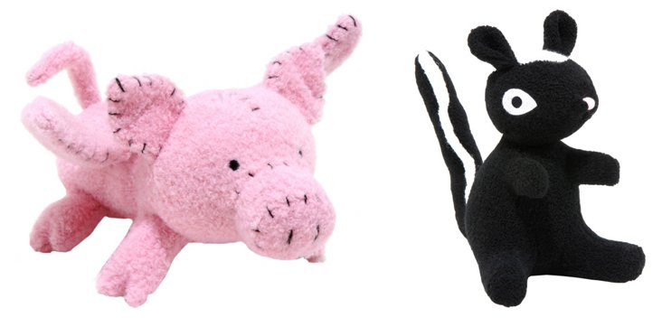 Skunk and Pig Wool Toys