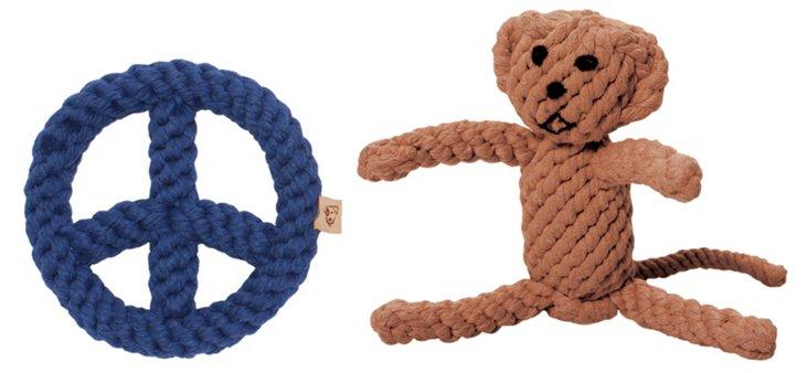 Blue Peace Sign & Monkey Rope Toys