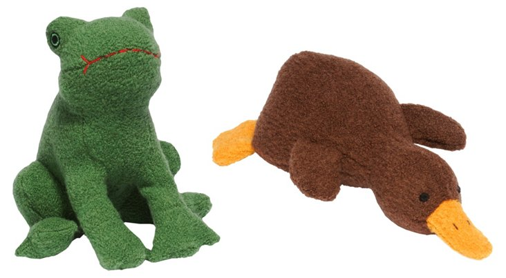 Wool Frog and Platypus Toys