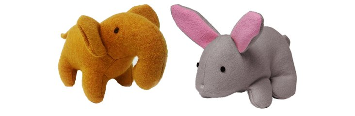 Wool Elephant and Bunny Toys