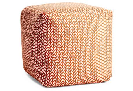 Eve Pouf, Orange/White