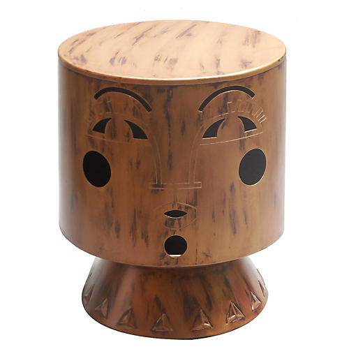 Bette Footstool, Antiqued Brass