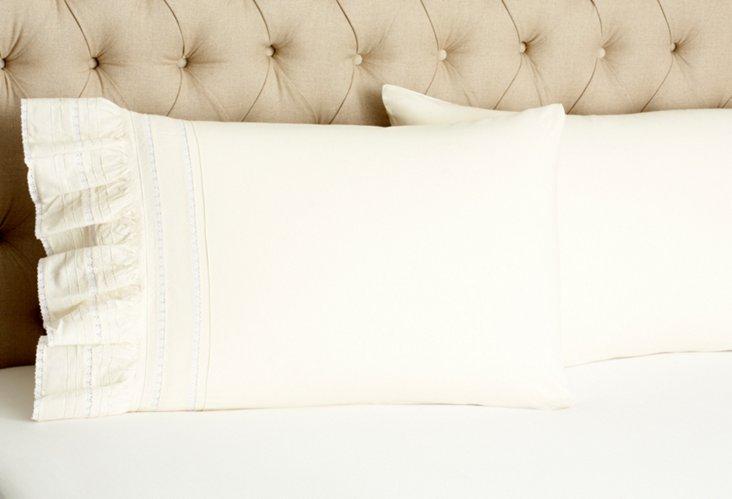 S/2 Elisa Std Pillowcases, Cream