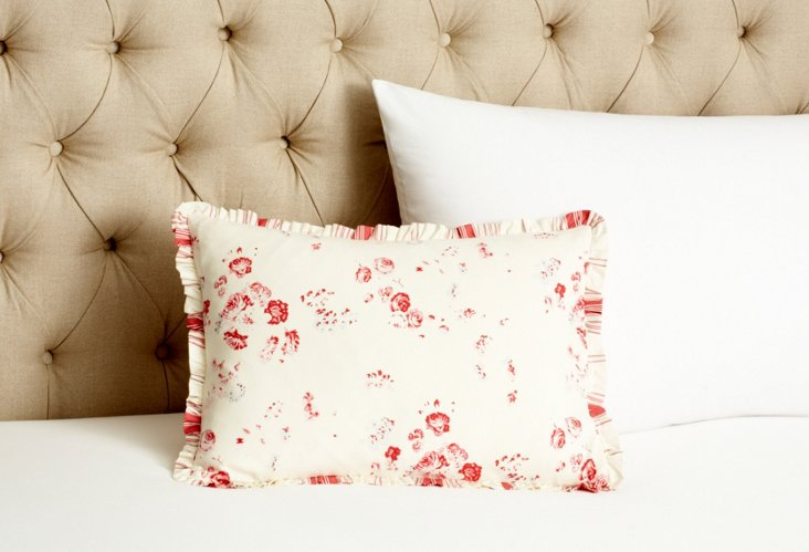 Sarah Boudoir Pillow, Cream/Red
