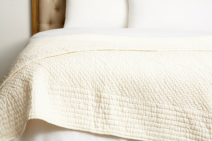 Grace Throw Quilt, Ivory