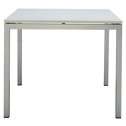 Natal Dining Table, Steel/White
