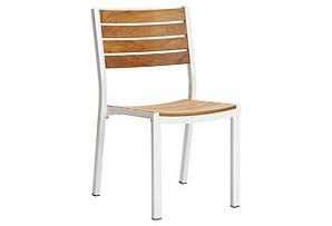 Alu Side Chair, Teak/White*