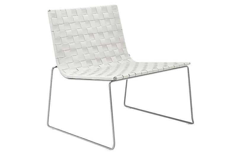 Trenza Accent Chair, Silver/White