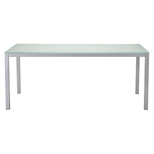 Koko Dining Table, Silver/Frosted Clear