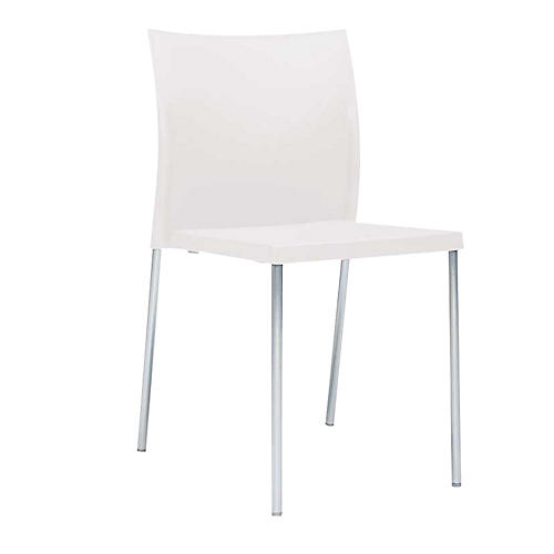 Bikini Side Chair, Silver/White