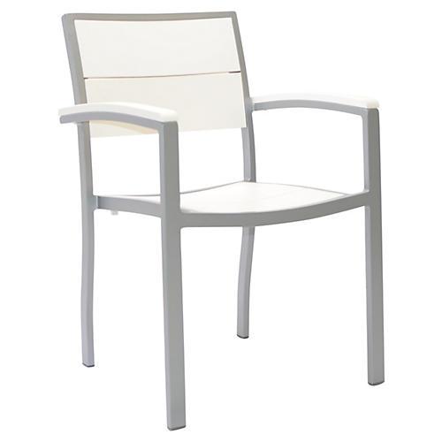 Koko Armchair, White/Silver