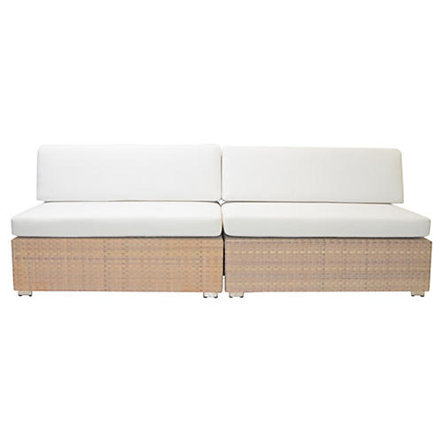 S/2 Grande Sofa Set, White/Chrome
