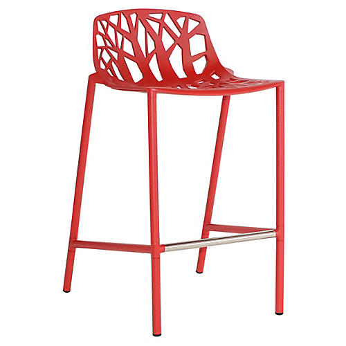 Forest Low-Back Counter Stool, Red